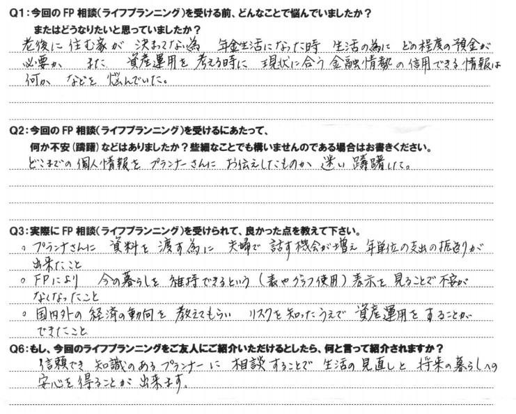 和歌山県在住 60代主婦女性の声